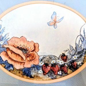 Flower strawberry butterfly watercolor framed art